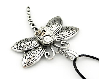 Watch Dragonfly Necklace  -  Clockwork Dragonfly Pendant - Vintage Steampunk Watch Insect Pendant