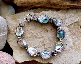 Amazing Abalone and Sterling Silver Filigree Chunky Bracelet