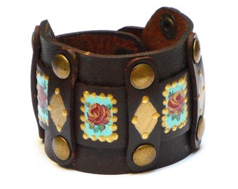 Boho Leather Cuff Bracelet Hand Painted Roses Bohemian Hippie Jewelry FREE SHIPPING