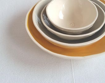Ceramic nesting bowls. Set of 4 small bowls in yellow, gray, tan. Hostess or housewarming gift. For condiments and dessert. Jewelry dish.
