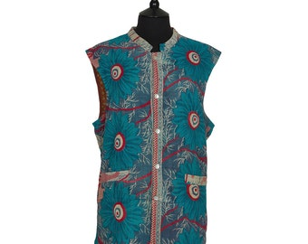 KANTHA Waistcoat - X Large size - Turquoise and red. Reverse orange