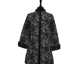 LEAF JACKET - All sizes - Long style - Black with Grey Leaf Design
