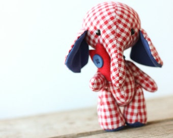 toy elephant red stuffed animal toy child gift cotton toy