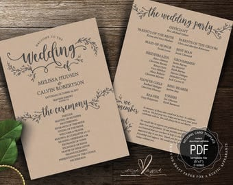 rustic wedding program pdf card template instant download editable printable ceremony order card in