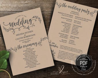 Rustic Wedding Program PDF card template, instant download editable printable, Ceremony order card in calligraphy floral theme (TED418_2)