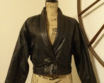 Adorable Cropped 80's Leather Jacket