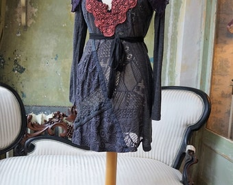 Art Romantic Gyspy Lace hand made Reworked long sleeve Dress with cape   Size M