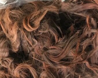 raw suri alpaca fiber - natural brown / dk rose grey