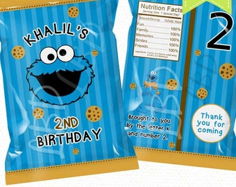 """Cookie Monster Treat Bag Printable, Candy Bag, Chip Bag, Party Bags 