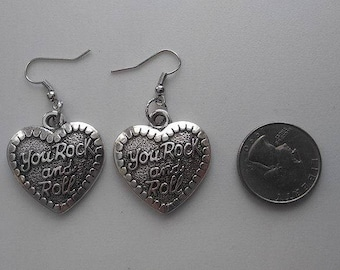 Rock and Roll Heart Tibetan Silver Earrings & Corded Necklace