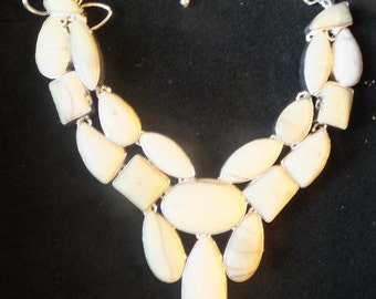 Howlite and Sterling Silver Bib Necklace 18 inches