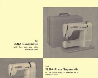 ELNA Supermatic Plana (TAN) User's Manual/ Operating Instruction