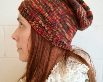 Slouchy beanie for women. Knitted slouchy hat. Hipster hat. Wool beanie.
