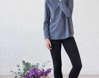 Organic Cotton Dark Grey Long Sleeve Top - Geranium Long Sleeve