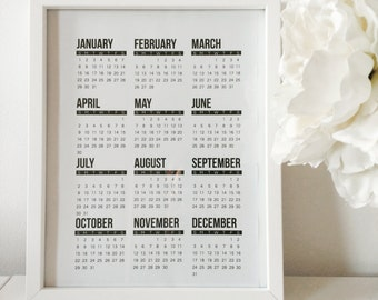 Printable calendar 2017 contemporary design minimalist black and white download modern home and office decoration wall Christmas gift