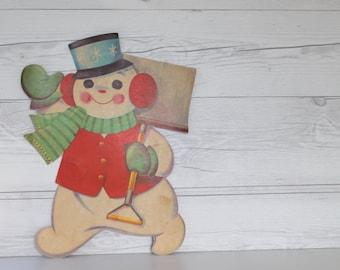 Mid Century Snowman Die Cut Christmas Wall Hanging, Vintage Snowman Die Cut Window Dressing