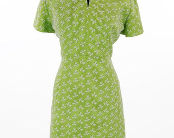 Vintage 1960s Lime Green and White Floral Mod Dress Size XL