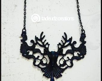 Ornate Black Stag Pendant