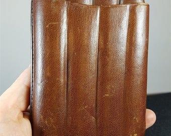 Vintage Brown Leather Cigar Case Holder 1920's - 1930's