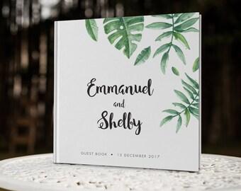 Tropical Leaf Wedding Guest Book, Greenery Wedding Guestbook, Destination Wedding Guest Book, Wedding Memory Book, SKU: GBS114