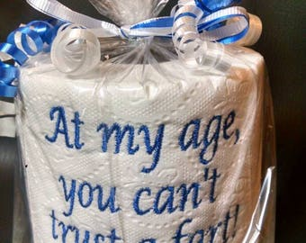 embroidered Can't Trust a Fart toilet paper, gag gift, white elephant gift, birthday gift