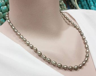 Olive Green Freshwater Pearl Necklace - 20 Inches Long