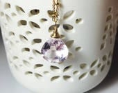 Amethyst Pendant, Solitaire Gemstone Necklace, Gold Fill, Pastel Briolette, Wire Wrapped, Simple Pendant, Pink Amethyst Necklace
