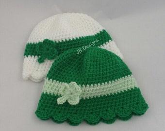 St Patrick's day beanie hat, shamrock, St Patricks day baby, crochet, baby boy, baby girl, toddler, child, adult, teen, newborn photo prop