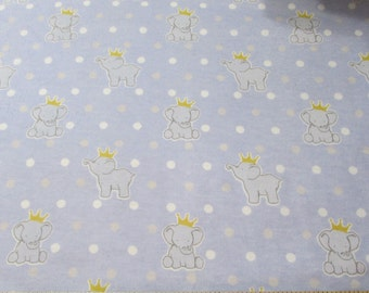 Flannel Fabric - Royal Elephant Dot - 1 yard - 100 Percent Cotton Flannel