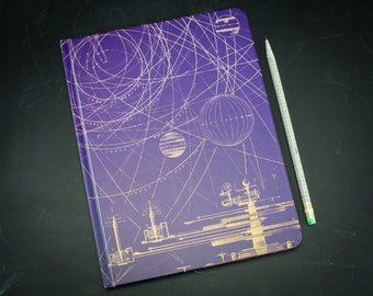 Planetary Motion Large Hardcover Journal | Vintage Universe Solar System Sketchbook Notebook Blank & Lined Recycled Comet Science Space Gift