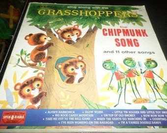 Save 30% Today Vintage 1960's Childrens Vinyl LP Record Singalong with the Grasshoppers The Chipmunk Song Very Good Condition