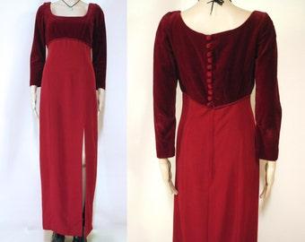 70s Vintage Maroon Velvet Dress Long Length Boho Hippie Retro Vtg 1970s Size XS-S
