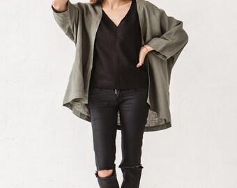 Linen kimono jacket, Pine green kimono jacket, Linen clothes, Linen kimono jacket, Minimal clothes, Simple linen clothes, Kimono, Linen