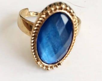 Vintage Gold Tone Adjustable Blue Mood Ring Size 10