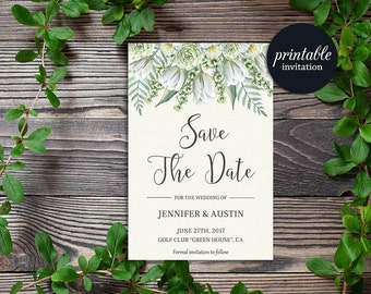 Floral Save the Date Card, Boho Save the Date Wedding, Green Save the Date Card, Greenery Save the date, Printable Save the Date Card