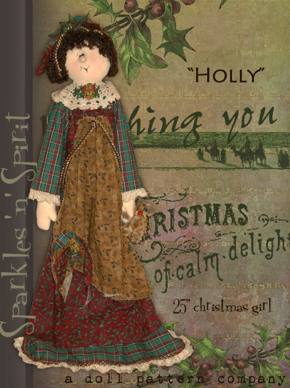 "Pattern: Holly - 25"" Christmas Girl"