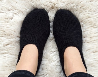 Black slippers, hand knitted cozy home shoes, wool slippers, comfy ankle socks, warm and cozy women knitted slippers, handmade gift for her