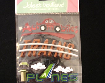 Jolee's Boutique-Transportation-3 Dimensional Stickers-Planes,Trains,Cars- New