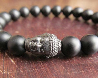 Matte Black Onyx and Buddha Bracelet, Black Bracelet, Gift for Men, Mens Beaded Bracelet, Stacking Bracelet, Natural Gemstone Bracelet