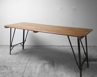 Folding 1940s Trestle Table Industrial Metal Legs - Waxed Pine Top