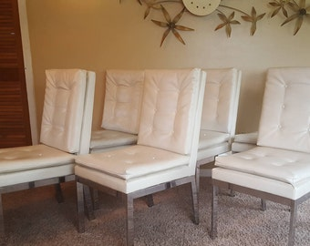 Vintage Mid century Modern Milo Baughman for DIA chrome Leather Dining 6 Side Chairs