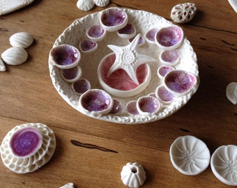 Porcelain tide pool collection. Nature inspired ceramic art, centre piece.