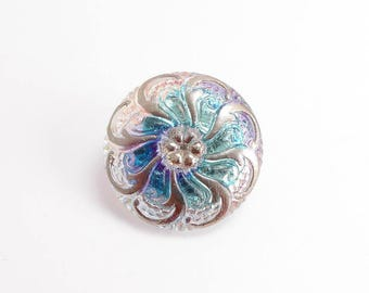27mm AB Swirl Flower Czech Glass Button, Czech Button, Blue Flower Glass Button, Flower Czech Glass Button, AB Czech Button BUT0057