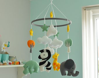 Animal Mobile - Baby Mobile - Felt Mobile - Mulicoloured Mobile - Nursery Mobile - MADE TO ORDER