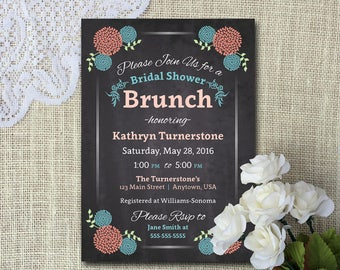 Bridal Shower Brunch Invite - DIY Printable File - Faux Chalkboard