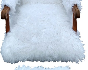accent chair faux fur chair white chair large upholstered chair and footstool