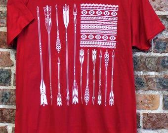ARROW FLAG Boho Tshirt T Shirt Tee Aztec USA American Flag Red