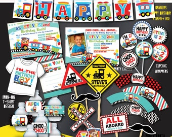 Printable Train Birthday Party Decorations,  Train Party Decors, Train First Birthday, Any Age-DIY Choo Choo Party- Transportation Party