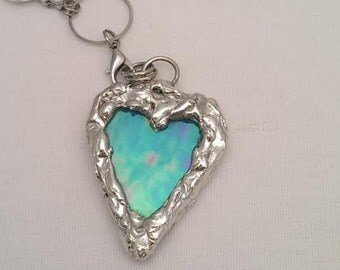 Heart Shaped Stain Glass Pendant Necklace - Blue Iridescent Stain Glass - D