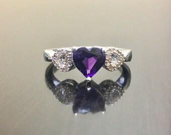 Diamond Amethyst Engagement Ring - Amethyst Diamond Wedding Ring - Amethyst Ring - Amethyst Heart Diamond Ring - Silver Heart Amethyst Ring